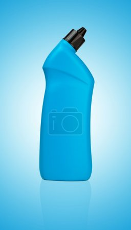 Photo for Blue bottle of cleanser detergent for toilet cleaning - Royalty Free Image