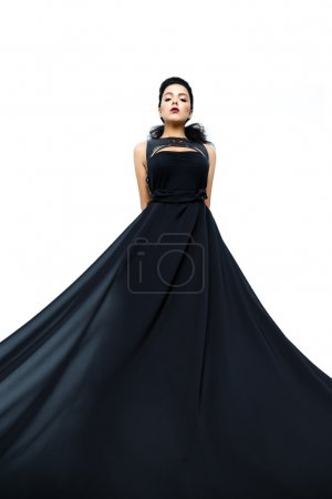 woman wearing black evening dress