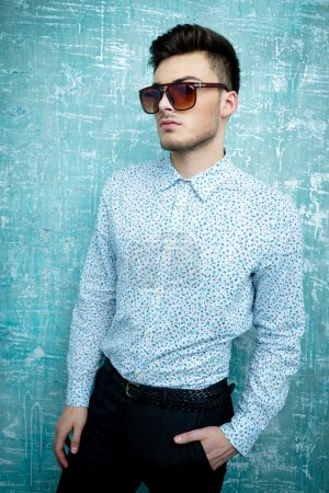 Photo for Casual handsome attractive man hipster guy wearing shirt and sunglasses - Royalty Free Image