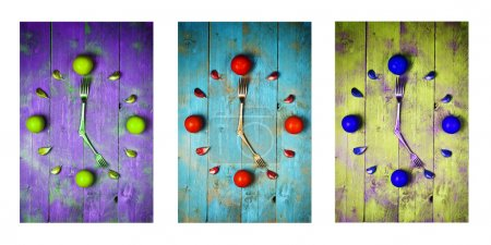 Textured abstract clock face showing 5 on wooden background,clocks icons, triptych in purple,green and blue