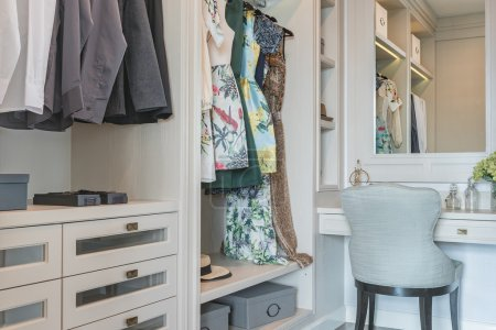 wooden wardrobe with dressing table and chair