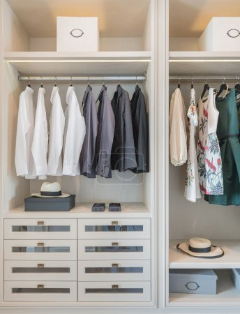 shirts and dress hanging on rail in wooden wardrobe
