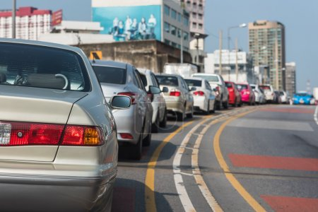 Photo for Traffic jam with row of cars on expressway during rush hour - Royalty Free Image