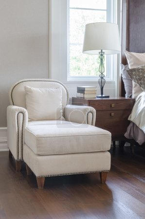 luxury white chair in classic bedroom design