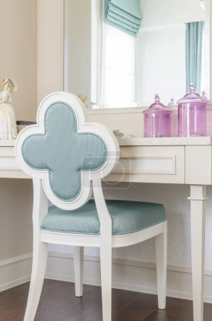 White dressing table with wooden chair