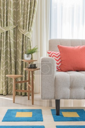 Colorful pillows on classic sofa style