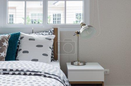modern lamp in modern bedroom