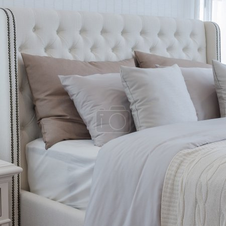 pillows on luxury bed in bedroom