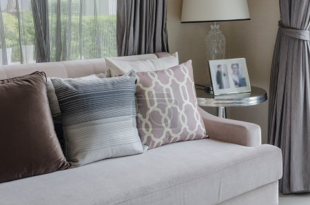 Photo for Pillows on sofa in living room at home - Royalty Free Image