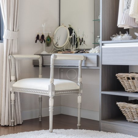 Photo for Luxury dressing table with classic chair style at home - Royalty Free Image