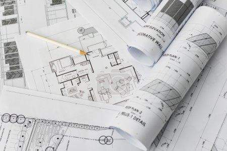 Bleistift auf Architektur für Konstruktionszeichnungen