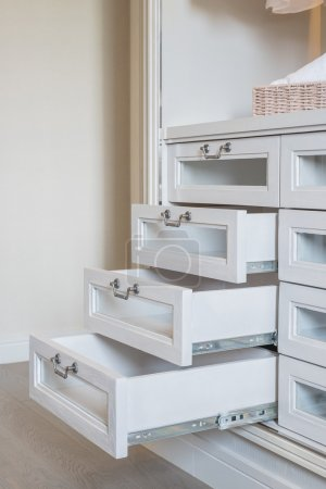 open white laminated drawer with handle