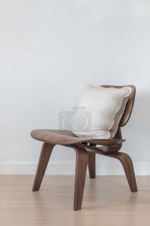Wooden modern chair with pillow