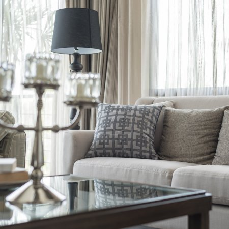 classic sofa with pillows in living room