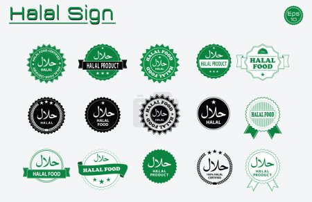 Illustration for Halal food labels vector set. Badges, logo, tag round, and label design. suitable for banner, flyer, trade mark, and other advertising raw materials.  easy to modify - Royalty Free Image