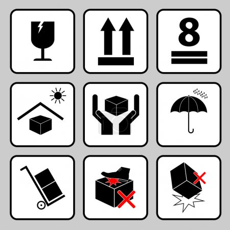 Illustration for Fragile sticker handle with care icon packaging symbols sign red keep dry do not drop trolley - vector - Royalty Free Image