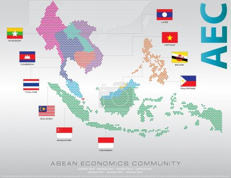 Asean Map dotted with Flags