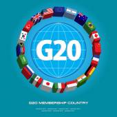 G20 country flags or flags of the world (economic G20 country flag) vector  illustration