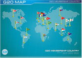 G20 country flags with dotted world map or flags of the world (economic G20 country flag) illustration