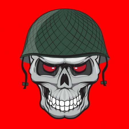 Illustration for Skull soldier illustration isolated. doodle style - Royalty Free Image