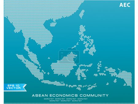 Asean Map dotted style illustration
