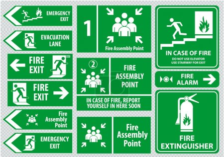 Set of emergency exit Sign