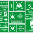 Set of emergency exit Sign (fire exit, emergency e...