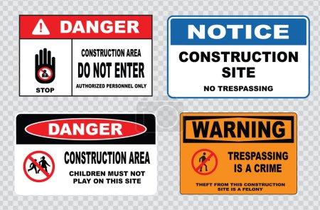 Illustration pour Panneaux de sécurité de chantier ou de construction. avertissement, interdisant la collecte de panneaux pour la construction, la fabrication industrielle. illustration vectorielle - image libre de droit