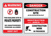 Site  or construction safety signs set warning prohibiting signs collection for construction industrial manufacturing vector illustration