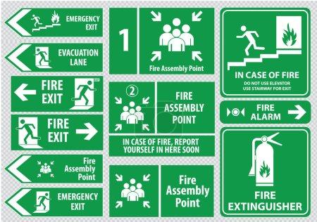 Illustration pour Panneau d'issue de secours (issue de secours, sortie de secours, point de rassemblement incendie, voie d'évacuation). illustration vectorielle - image libre de droit