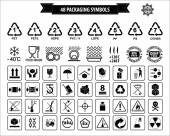 Set Of Packaging Symbols (this side up handle with care fragile keep dry keep away from direct sunlight do not drop do not litter use only the trolley use fifo system max carton recyclable)