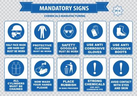 Illustration pour Signe chimique ou médical obligatoire. Panneaux d'avertissement allumés. illustration vectorielle - image libre de droit