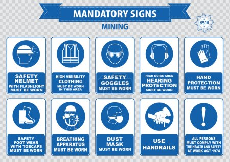 Mining safety icons set