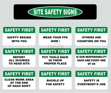 set of safety  signs