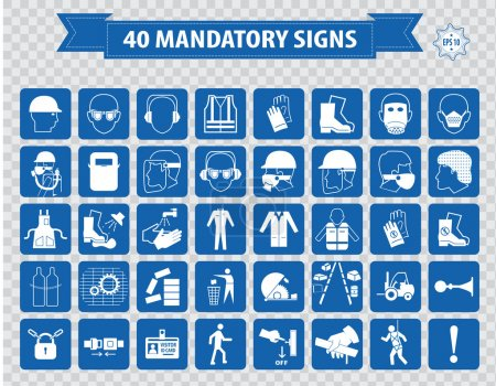 Illustration for Mandatory signs, construction health, safety sign used in industrial applications. vector illustration - Royalty Free Image