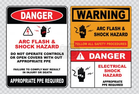 Illustration for High voltage signs or electrical safety signs. warning, prohibiting signs. vector illustration - Royalty Free Image