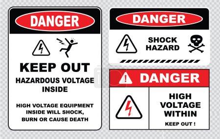 Illustration pour Signe de haute tension ou signe de sécurité électrique. Panneaux d'avertissement allumés. illustration vectorielle - image libre de droit