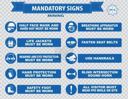 Mining mandatory signs (safety helmet with flashli...