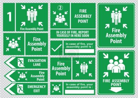 Illustration pour Panneaux d'issue de secours (sortie de secours, sortie de secours, point de rassemblement incendie, voie d'évacuation) ). - image libre de droit