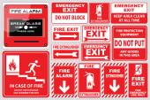 Set of Fire Alarm signs (fire alarm break glass press here fire exit for emergency use only emergency exit do not block fire extinguisher)