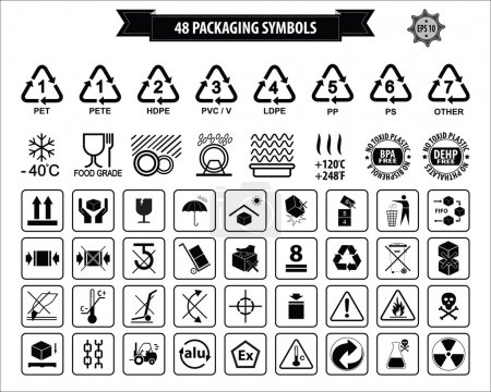 Illustration for Set Of Packaging Symbols (this side up, handle with care, fragile, keep dry, keep away from direct sunlight, do not drop, do not litter, use only the trolley, use fifo system, max carton, recyclable). - Royalty Free Image