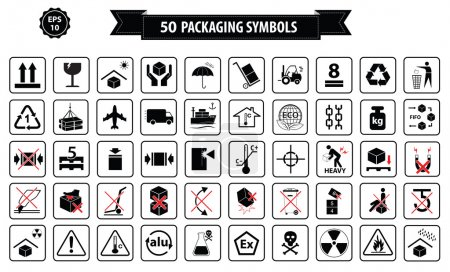 Illustration for Set Of Packaging Symbols (this side up, handle with care, fragile, keep dry, keep away from direct sunlight, do not drop, do not litter, use only the trolley, use fifo system, max carton, recyclable) - Royalty Free Image