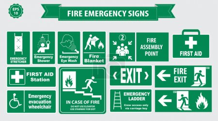 Green Fire Emergency signs