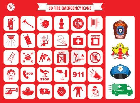 Illustration pour Ensemble d'icônes d'urgence incendie (sortie incendie, sortie de secours, point de rassemblement incendie, échelle, hache, extincteur, enrouleur de tuyau, alarme, lavage des yeux, sortie incendie, 911, bouche d'incendie, premiers soins, ambulance, badge ) - image libre de droit