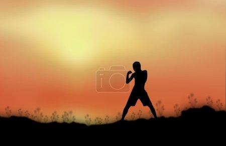 Thai boxing silhouette children Sunset background...