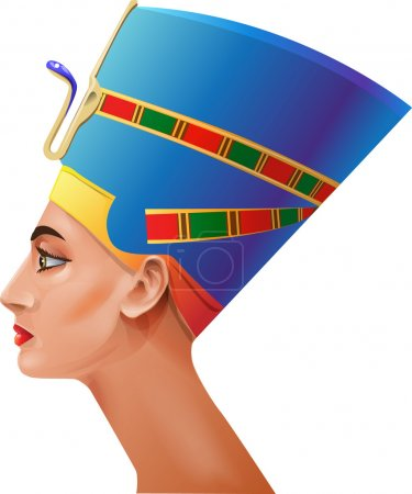 The head of the Egyptian queen on a white backgrou...