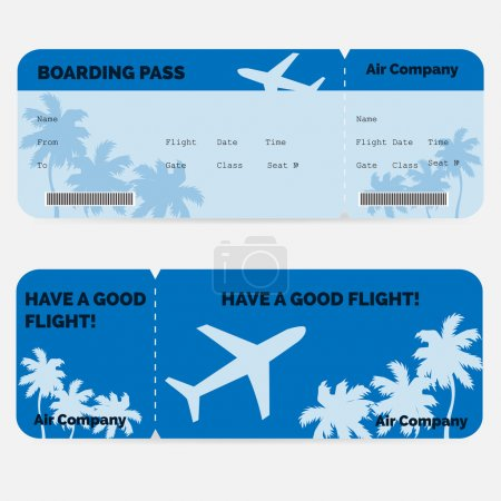 Illustration for Airline boarding pass. Blue ticket isolated on white background. Vector illustration - Royalty Free Image
