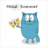 Hello summer cartoon character - vector illustration Cute sad cat and a butterfly