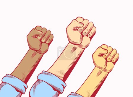 Vector illustration poster to national labor day hands with fists raised on white background