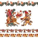 Vector illustration sketch drawing aztec cacao bea...